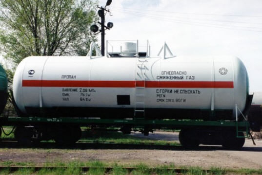 газовая цистерна АЗХМ железнодорожная