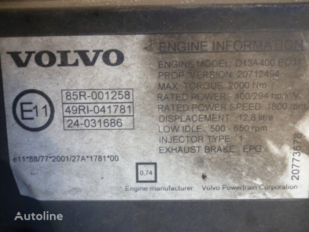 двигатель  Volvo D13A400 EC01 для грузовика VOLVO