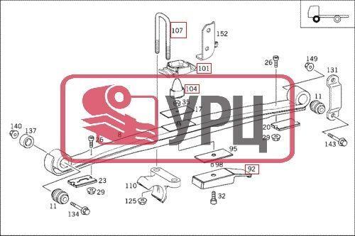листовая рессора  передняя Проставки для грузовика MERCEDES-BENZ ATEGO